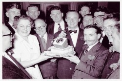 Celebrating the record in 1957 wit Connie Robinson in the Sun Hotel